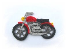 Motorcycle application crochet applique crochet by SavoeDesign Crochet Afghans, Crochet Car, Crochet Motif, Crochet Crafts, Yarn Crafts, Crochet Flowers, Crochet Toys, Crochet Projects, Crochet Applique Patterns Free