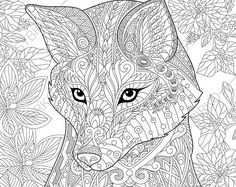 Adult Coloring Pages Fox Zentangle Doodle Book Page For Adults Digital Illustration Instant Download Print