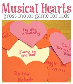 This would be a fun Valentine's Day classroom party activity! Similar to musical chairs, when kids land on a heart when the music stops, they act out the task (i.e. hop on one foot, or do the robot). #healthyschools #activegames