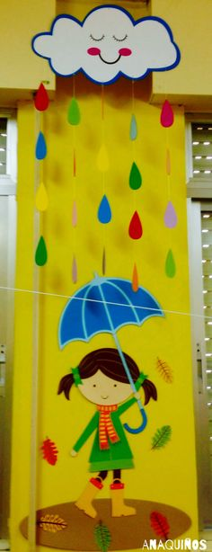 3-D Spring bulletin board with umbrella and rain. So cute! #spring