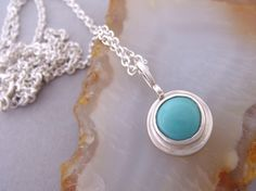 Tiny Turquoise Necklace Petite Small Round by SCJJewelryDesign