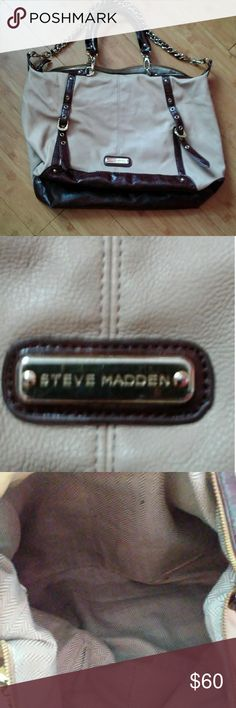 Steve Madden satchel Large sachel beautiful brown and beige color minor flaws last pic a tiny rub as shown if u can see of but it's there. Inside can use a little cleaning and look new. Overall condition excellent Steve Madden Bags Satchels