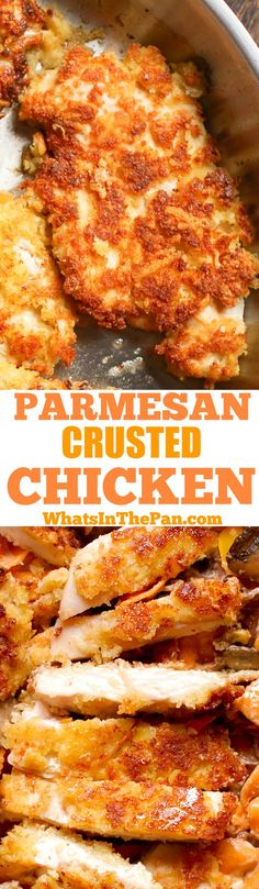 In this easy Parmesan Crusted Chicken recipe, thin chicken breasts are are coated in Parmesan and bread crumbs, and then pan fried until crispy! Kids love it and so do the adults. Easy weeknight dinner, use it in salads or serve it alongside pasta.
