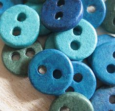 tiny turquoise ceramic buttons
