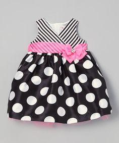 Look what I found on #zulily! Black & Pink Polka Dot Surplice Dress - Infant #zulilyfinds