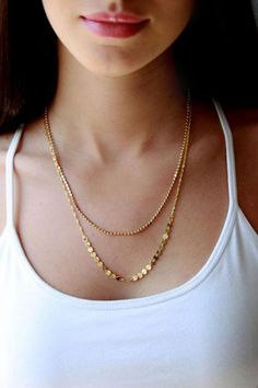 Gold Double Layers Metal Chian Necklace