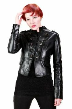 Women's Black Military Leather Jacket