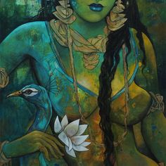 Drawing Woman woman with peacock Artwork - Human Figure Drawing, Body Drawing, India Painting, Online Painting, Krishna Painting, Indian Art Paintings, India Art, Figure Painting, Figurative Art