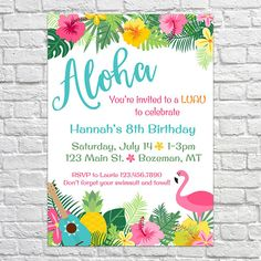 Hawaiian Luau Birthday Party Invitation PLEASE READ THE FOLLOWING INFORMATION This Listing Is For A