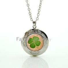 Lucky Four Leaf Clover pendant fresh spring green nature plant locket necklace good mood jewelry happiness symbol gift HH304 //Price: $US $1.93 & FREE Shipping //     #hashtag1