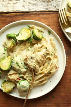 vegan garlic and white wine alfredo pasta with brussels sprouts
