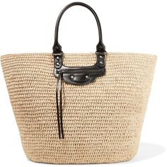 Balenciaga Panier large leather-trimmed raffia tote ($980) ❤ liked on Polyvore featuring bags, handbags, tote bags, totes, sand, handbags totes, studded purse, cell phone purse, balenciaga tote and beige tote