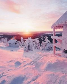 Pink winter light in Levi, Lapland, Finland Winter Szenen, Winter Magic, I Love Winter, Winter Christmas, Lappland, Lapland Finland, Snowy Day, Snow Scenes, Winter Beauty