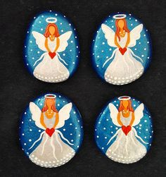 Stone painted angel magnets!