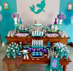 The Little Mermaid Birthday Party Ideas / Festa A Pequena Sereia Ariel Mermaid Party Favors, Mermaid Party Decorations, Mermaid Theme Birthday, Little Mermaid Birthday, Little Mermaid Parties, Birthday Party Decorations, Birthday Parties, Second Birthday Ideas, First Birthdays