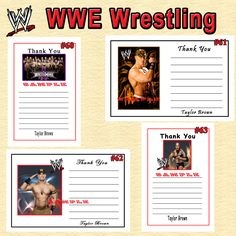 WWE Wrestling Birthday Invitations, Thank You Cards, Address Labels, Bookmarks, Candy Wrappers & Stickers See my AD on Bonanza.com Link to my Bonanza Shop: http://www.bonanza.com/booths/srprintingservice Thanks for looking SR Printing Service