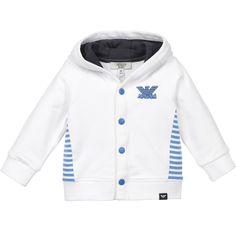 a2b502cf3 Armani Baby Boys White Hooded Cotton Jersey Cardigan at Childrensalon.com  Armani Kids