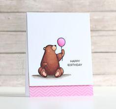 Birthday Bears: MFT, copics, glossy accents on balloon, critter sketch