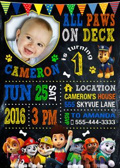 Paw Patrol Invitation Paw Patrol Birthday Party by VitaPrintable