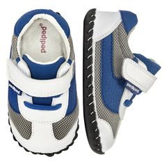 2386: Originals Cliff White/Blue - Crafted with genuine leather, this lightweight and comfortable athletic style with keep your little man in fashion.