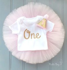 ***CURRENT PROCESSING TIME is 5-7 business days for tutus and sets containing tutus. It is 3-5 business days for all other orders.*** Pink and Gold First Birthday Tutu Set (3-piece set as seen in first two listing photos)! - Custom, Made to Order (processing times apply) Custom SEWN Baby