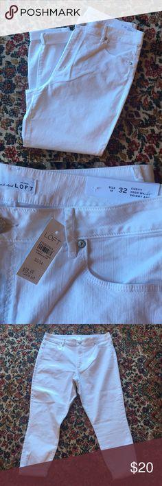 "⚡️ Flash Sale Loft white jeans! ⚡️ NWT ""curvy high waist skinny ankle"" white Loft jeans! Size 14 (32), offers welcome! LOFT Jeans"