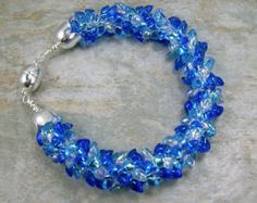 Kumihimo Beaded Blues Bracelet with Magnetic Clasp by All My Beads