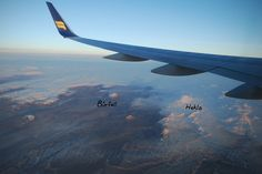 Flying over south of Iceland: Icelandic highlands covered with snow with Hekla volcano and Búrfell.   December 2012