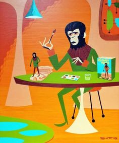 Dad sci fi film geeks will love this illustration on a poster , card or t-shirt. Sci Fi Films, Planet Of The Apes, Cornelius, Pop Surrealism, Weird World, King Kong, Illustration Art, Illustrations, Vintage Posters