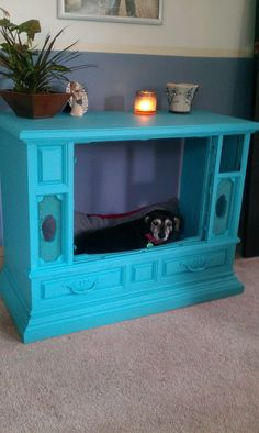 Saw project on pintrest..here is my finished project.. well a few more things then done but ready to show. Old ugly tv console to a designer doggy bed.