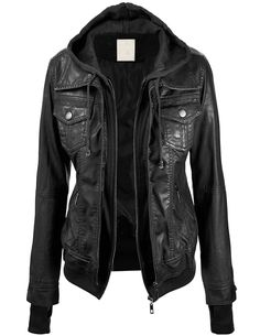 Lock and Love Women's 2-For-One Hooded Faux leather Jacket XS BLACK ***********