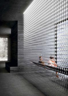 Artemide 灯 kmitl в 2019 г. wall design, lighting design и gl Glass Brick, Glass Door, Screen Design, Wall Design, Shopping Interior, Interior Walls, Interior Lighting, Architecture Design, Glass Partition