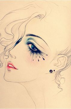 I think this is a makeup face chart but it's beautiful as a portait or illustration