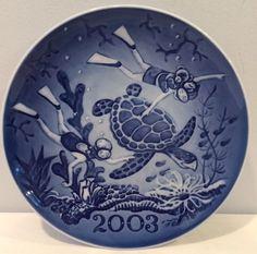 "NIB 2003 Millennium Sea Turtles 7-1/8"" Plate Lim. Ed. Royal Copenhagen COA"