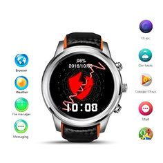 Imillet Smart Watch Android 5.1 MTK6580 Quad Core 1GB/8GB 3G WIFI GPS Heart Rate Monitor Cell Phone Smartwatch for Anrioid iOS (Black) (updated Android 5.1). Large 2.2 inches screen, adapt App of visual size. Large capacity battery. MTK6572 dual core, smoothly and sensitive. 0.3MP Camera make simple pictures with friends and family. Highest silicone wristbands, more safe and comfortable, reduce allergies. Wifi: 802.11b/g/n; 3G: nano SIM card, GSM, WCDMA; Built-in accurate GPS...