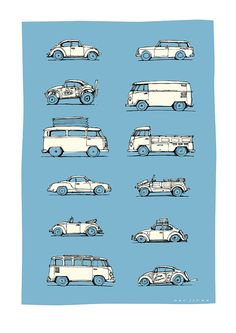 Thumbnail sketches of Volkswagens of all shapes and sizes. Limited to 100 prints, signed and numbered. Printed on museum quality paper with archival inks. Vw T3 Camper, T3 Vw, Auto Volkswagen, Volkswagen Germany, Volkswagen Transporter, Combi Ww, Vw Modelle, Vw Variant, Vw Camping