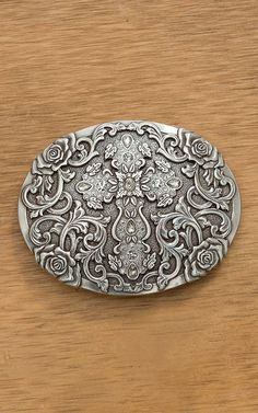 c879424c0f60 Antiqued Silver Oval Buckle - Cross Center Design with Rhinestone Accents -  Rose Filigree Detail - Buckle Measures  x - Swivel This beautiful antiqued  ...