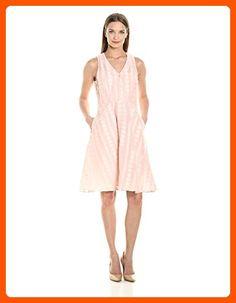 Donna Morgan Women's Vneck Dot Burnout Jacquard Fit&Flare Shirtdress W Self Belt, Petal Pink, 8 - All about women (*Amazon Partner-Link)