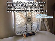 Saviez-vous que pour rafraîchir une chambre, un ventilateur orienté vers l'extérieur est bien plus efficace qu'un ventilateur orienté vers l'intérieur de la pièce ?  Découvrez l'astuce ici : http://www.comment-economiser.fr/astuce-facile-pour-rafraichir-chambre-nuit.html?utm_content=buffer6846c&utm_medium=social&utm_source=pinterest.com&utm_campaign=buffer