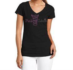 Rhinestone PINK ZEBRA Shirt by ssrhinestone on Etsy