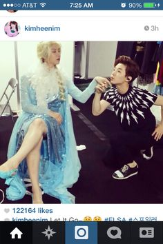 Kim Heechul as Elsa from frozen ... OMG, this shouldn't shock me anymore but I am a little bit speechless lol