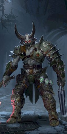 Morvoch the Marauder, Cyber-Demon Hybrid & Agent of Destruction for the Insidium Fantasy Armor, Dark Fantasy Art, Doom Demons, Doom 2016, Doom Game, Samurai Artwork, Monster Concept Art, Armor Concept, Fantasy Character Design