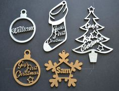 Personalised Christmas Decoration - Xmas Gift - Bauble, Tree, Snowflake - From £4.99