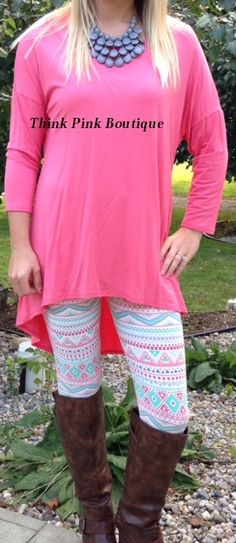 Coral Pink Peach Hi Low Tunic Sweater Top Pink Coral Peach Aztec Tribal Leggings Summer Winter Fall Outfit wardrobe www.facebook.com/thinkpinkboutique1