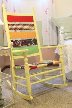 Love the fabric bands added to this old rocking chair.