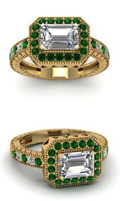 Emerald Cut Diamond w/Green Emeralds in 14K Yellow Gold. Don't like emeralds? Don't like yellow gold? Customize it!!