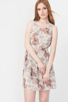 Chiffon Floral Asymmetrical Dress