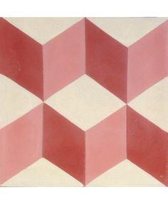 Geometric Red Encaustic Cement Tile by TERRAZZO-TILES. http://www.terrazzo-tiles.co.uk/geometric-red-encaustic-tile.html