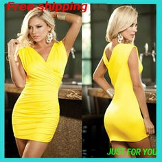 Free Shipping For New 2014 Hot Sale European And American Style  Women Dress Sexy Night Club, Black And Yellow Club Dresses.
