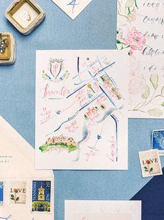 Watercolor wedding invitations - watercolor map of wedding venue {Simply Jessica Marie}
